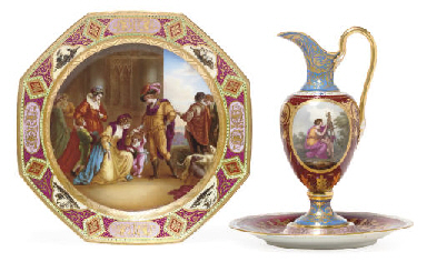 A VIENNA STYLE EWER AND STAND