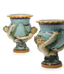 A PAIR OF MINTON MAJOLICA TURQ
