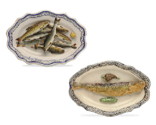 TWO FRENCH PALISSY STYLE FAIEN