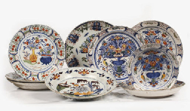Nine Dutch Delft various polyc
