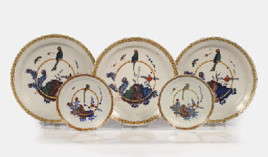 Five Dutch Delft polychrome 'p