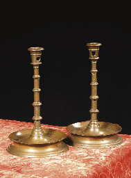 A pair of large brass nozzle c
