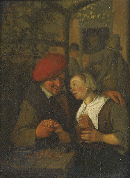 A peasant couple courting in a