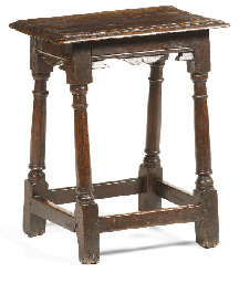 A Jacobean oak joined stool