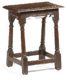 A Jacobean oak joined stool