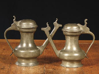 Two Dutch pewter flagons