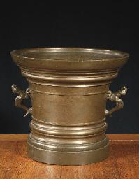 A massive bronze mortar