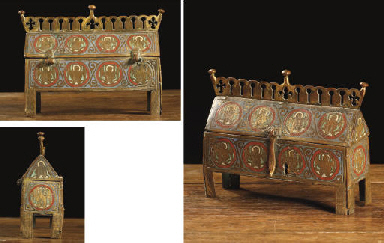 A rectangular parcel-gilt and