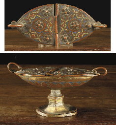 A parcel-gilt enamel incense b