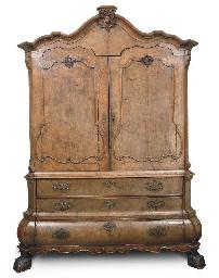 A Dutch burr walnut cabinet