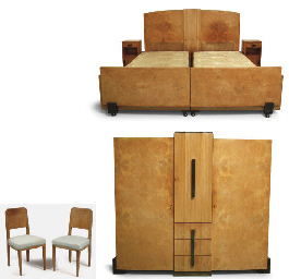 An Art Deco plane veneered bed