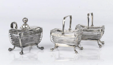 A Dutch silver pair of salt-ce