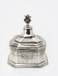 A Dutch silver tobacco pot