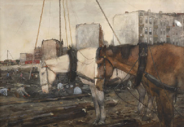 Horses at a construction site,