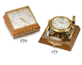 Longines. An unusual gilt bras