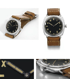 Rolex made for Officine Panerai. An extremely rare, large and attractive stainless steel water-resistant diver's wristwatch with black lacquer California dial