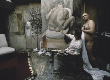 Lucien Freud working in his st