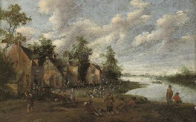 A village with figures outside