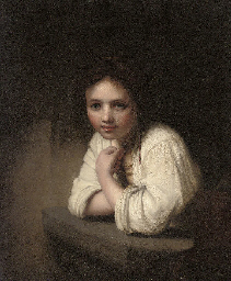 Portrait of a girl leaning on