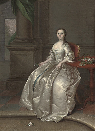 Portrait of a lady, seated, fu