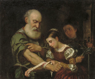 A young girl binding the wound