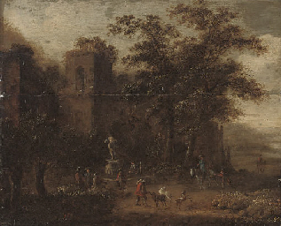 A wooded landscape with shephe