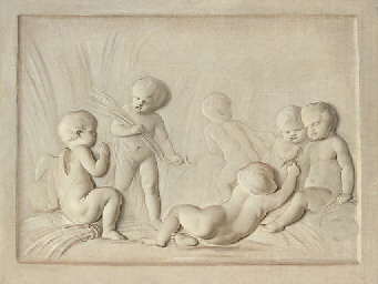 Putti disporting, en grisaille