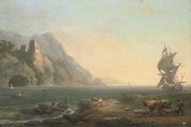A rocky coastal landscape with