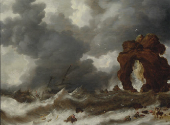 Stormy seas with a shipwreck