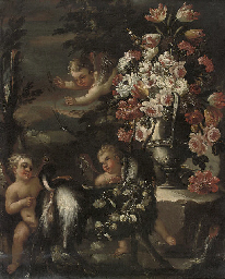 Putti disporting with a goat,