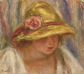 Etude de femme au chapeau jaun