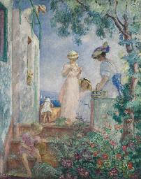 Jeunes filles sur une terrasse