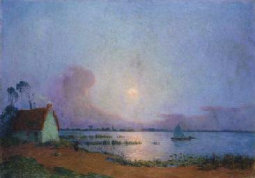 Nuit bleutée sur le marais de
