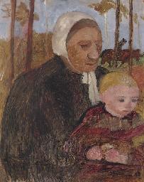Bäuerin mit Kind, im Hintergru