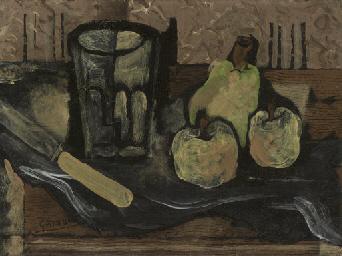 Verre, fruits et couteau