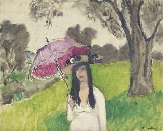 Femme à l'ombrelle rose
