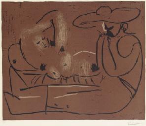 Femme couchée et homme au gran