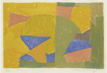 Composition jaune, verte, bleu