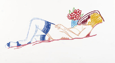Nude with Bouquet and Stocking