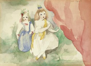 Deux fillettes à la draperie r