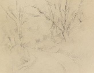 Tournant de route dans un bois