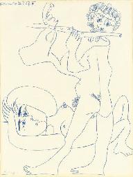 Femme couchée et flutiste