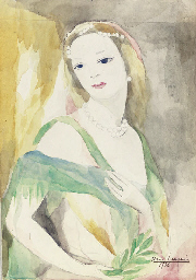 Femme en vert aux perles