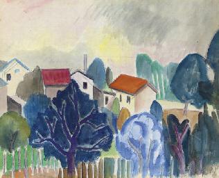 Paysage aux arbres et maisons