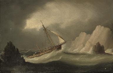 A dismasted schooner running i
