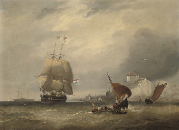 A Dutch merchantman running ou