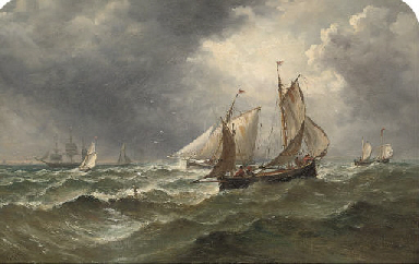 The fishing fleet in choppy se