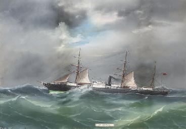 S.S. Lusitania in rough seas