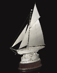 A silvered yachting trophy, in