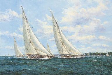 J-class yachts racing off Cowe